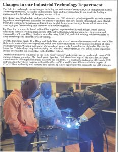 Cathedral High School Welding Program